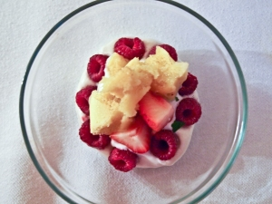 Raspberries, Strawberries, Vanilla Cream, Mint, Aerated Brioche