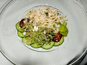 Lime, Togarashi, Scallion, Miso Butter Snow, Cucumber, Compressed Cucumber with Sweet Soy, Micro Cabbage, Wasabi-Avocado Puree