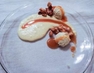 Popcorn grits, buttered popcorn posset, salted caramel sauce, candied peanuts with smoked salt