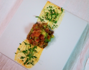Tuna tartare, aji-amarillo, chives, avocado, olive oil, pea shoots.